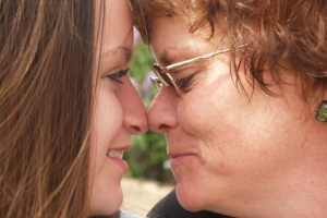 mother & daughter nose to nose